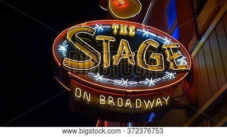 The Stage On Broadway In Nashville By Night - Nashville, Usa - June 17, 2019