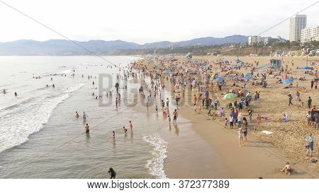 Aerial View Over Santa Monica Beach In Los Angeles - Los Angeles, United States - March 29, 2019