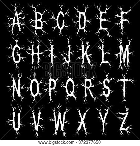 Metal Music Band\'s Font.white Typeset On Black Background.