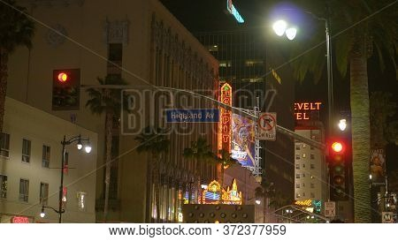 Street Sign Highland Avenue On Hollywood Boulevard In Los Angeles - Los Angeles, Usa - April 21, 201