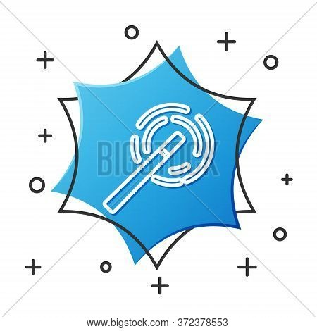 White Line Magic Wand Icon Isolated On White Background. Star Shape Magic Accessory. Magical Power.