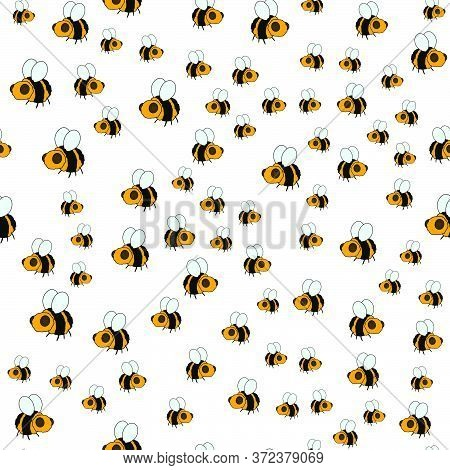 Bumblebee. Colorful Cute Seamless Background. Vector Illustration.