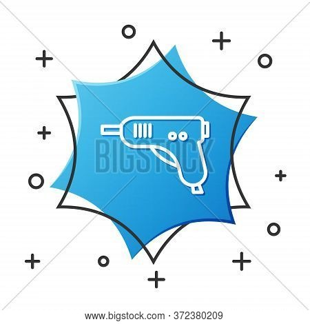White Line Electric Hot Glue Gun Icon Isolated On White Background. Hot Pistol Glue. Hot Repair Work