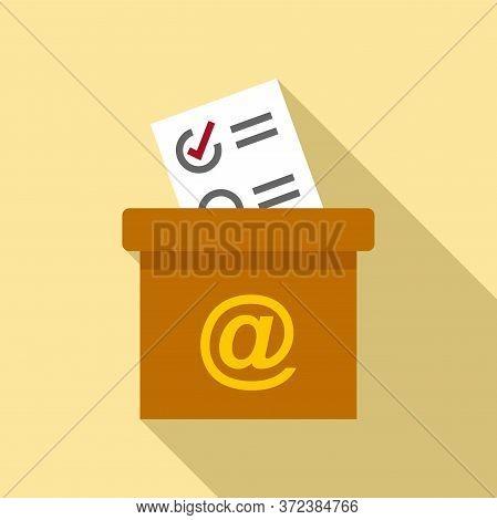 Survey Carton Box Icon. Flat Illustration Of Survey Carton Box Vector Icon For Web Design