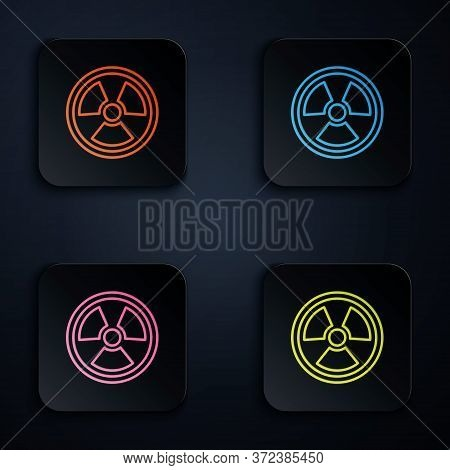 Color Neon Line Radioactive Icon Isolated On Black Background. Radioactive Toxic Symbol. Radiation H