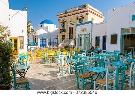 Serifos, Greece - September 9, 2018: The Main Square Of Chora In Serifos Island. Cyclades, Greece