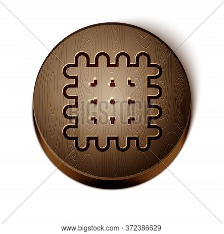 Brown Line Cracker Biscuit Icon Isolated On White Background. Sweet Cookie. Wooden Circle Button. Ve