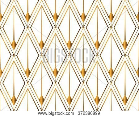 Art Deco Isolated Gold Seamless Pattern. Art Deco Rhombuses Pattern On A White Background. Stock Vec