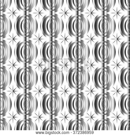 Art Deco Gold And Silver Seamless Pattern Isolated Set. Art Deco Pattern Circles On A White Backgrou