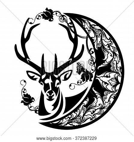 Antler Deer And Crescent Moon With Rose Flowers And Butterfly - Magic Nature And Good Night Concept