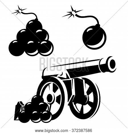 Antique Cannon And Artillery Bomb Balls Black And White Vector Outline Design Set