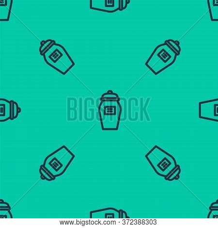Blue Line Funeral Urn Icon Isolated Seamless Pattern On Green Background. Cremation And Burial Conta