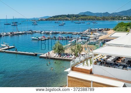 Corfu, Greece - July 4, 2017: The Resort Of The Marina In The Old Town Seafront