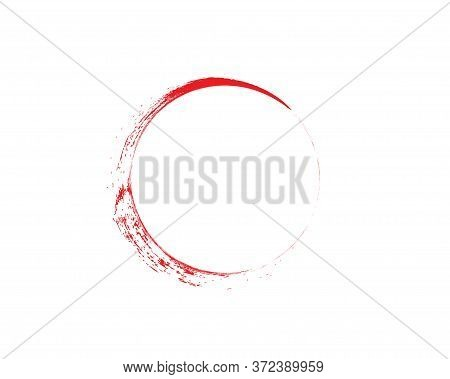 Red And White Zen Enso Symbol Original Vector Design. Painting Enso Zen Circle Chinese Style Illustr