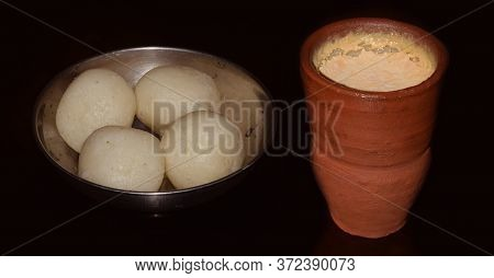 Bengali Traditional Sweets Rosogulla Or Rasgulla (sweet Cottage Cheese Balls ) Combined With Misti D