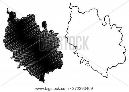 Vianden Canton (grand Duchy Of Luxembourg, Administrative Divisions) Map Vector Illustration, Scribb