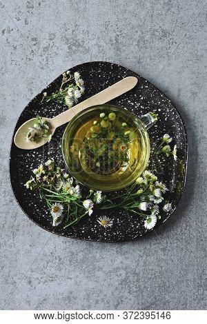 Chamomile Tea In A Glass Mug. Chamomile Tea. Medicinal Herbal Drink. Detox Tea With Chamomile.