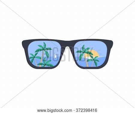 Summer Holiday And Vacation. Summer Sunglasses. The Beach And The Tropical Sea With The Setting Sun