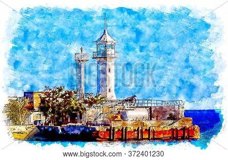 The Lighthouse At The Entrance To The Bay Of Yalta. Crimea, Russia. Watercolor Style Illustration.