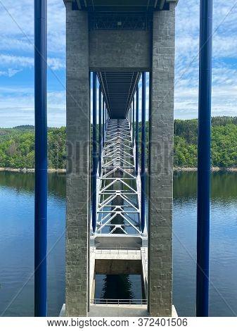 The Zdakov Bridge Is A Steel Arch Bridge That Spans The Vltava River,czech Republic. At The Time Of