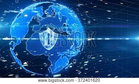 Shield Icon On Secure Global Network , Digital Data Network Connected, Cyber Security Concept. Earth