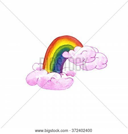 Watercolor Illustration Of A Rainbow In Pink Clouds. Isolated On A White Background