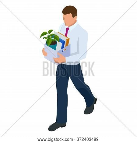 Isometric Businessman Isolated On Write. Dismissed Frustrated Business Person Holding A Box With His