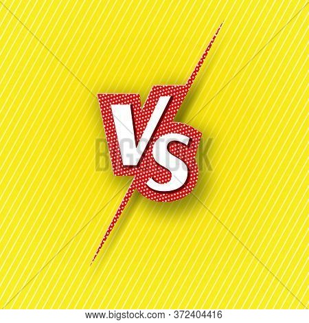 Versus Vs Logo Icon Letter Comic Vs On A Yellow Background Of Line Ray Blank Template Background For