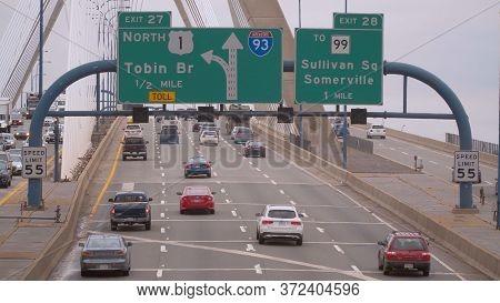 Traffic On Leonard P. Zakim Bunker Hill Bridge In Boston - Boston. Usa - April 5, 2017