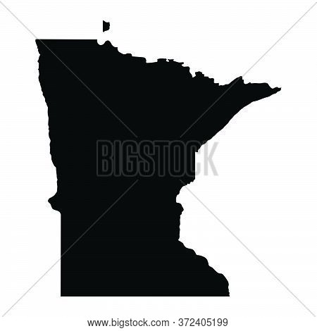 Minnesota Mn State Maps. Black Silhouette And Outline Isolated On A White Background. Eps Vector