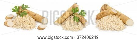 Horseradish Root With Slices And Parsley Isolated On White Background