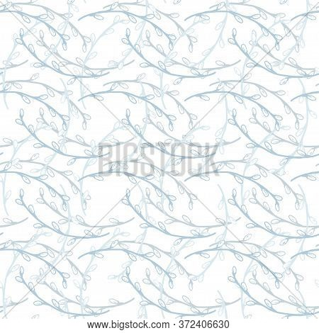 Delicate Seamless Pattern. Willow Pattern In Blue Hues. Vector Willow Twigs Isolated Pattern. Concep