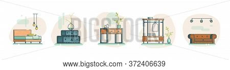 Flat Loft Icon Isolated Set. Icon Of Suitcases, Sofa, Bed, Wardrobe, Console. Flat Vector Icon With