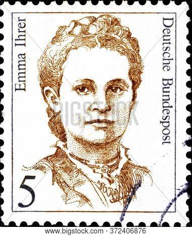02 10 2020 Divnoe Stavropol Territory Russia Postage Stamp Germany 1989 Famous Women Emma Ihrer 1857