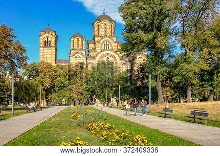 St. Mark's Serbian Orthodox Church In The Tasmajdan Park In Belgrade, Serbia