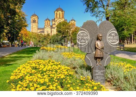 Belgrade / Serbia - September 30, 2018: Monument To Children Killed In The Nato Bombing Campaign Of