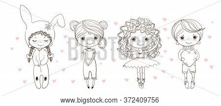 Children S Coloring With Cute Characters. A Linear Doodle Sketch, A Ballerina, A Boy In Shorts, A Gi