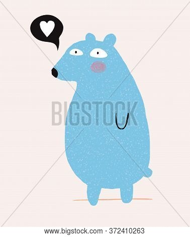 Cute Hand Drawn Blue Teddy Bear Vector Illustration. Lovely Nursery Art With Quirky Big Bear And Whi