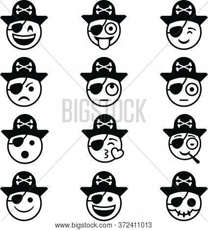 Set Of 12 Pirate Emojis (black Outline) - Angry, Stoned, Flirting, Happy, Excited, Confused, Joking,