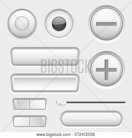 Gray Web Buttons. Push Buttons, Toggle Switch Buttons And Sliders. Vector 3d Illustration