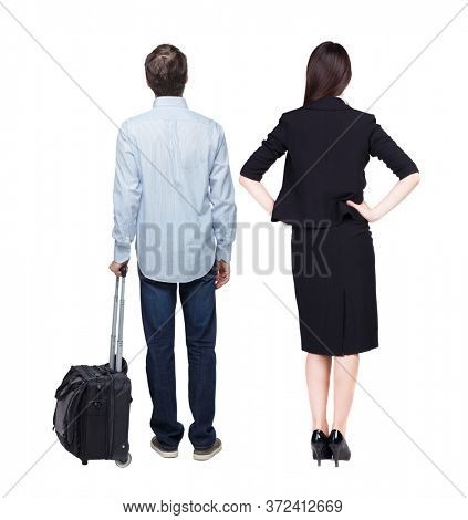 Back view of  business women and business men in suit pointing. Business team. traveling with suitcas. Back view. Rear view people collection. backside view of person. Isolated over white background.