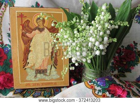 Traditional Orthodox Icon Of The Holy Guardian Angel. Handwritten Work Background Of Ukrainian Rushn