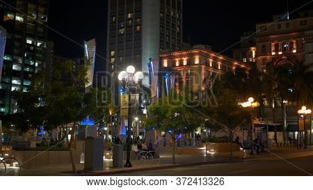 Horton Plaza Park At Historic Gaslamp Quarter San Diego By Night - San Diego, Usa - March 18, 2019