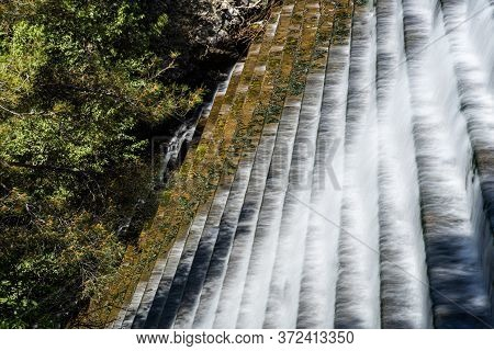 Overflow From A Small Reservoir Water Dam At Pera Pedi Troodos, Cyprus