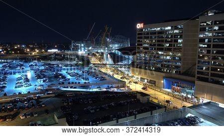 Cnn Headuarter Atlanta - Aerial View At Night - Atlanta, Georgia - April 20, 2016