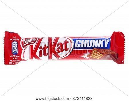 Bucharest, Romania - January 16, 2015. Kit Kat Chunky Chocolate Wafers Bar Isolated On White. Kit Ka