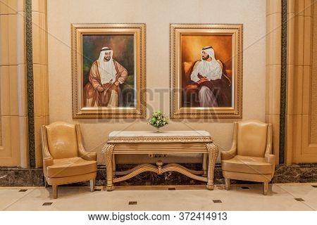 Abu Dhabi, Uae - March 9, 2017: Portraits Of Khalifa Bin Zayed Al Nahyany And Sheikh Mohammed Bin Ra