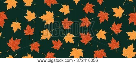 Yellow And Orange Leaves Seamless Background On Green Background. Vector Illustration.