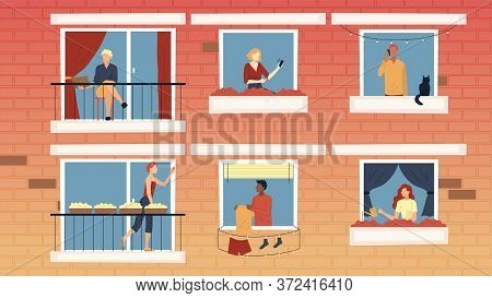 Concept Of People Leisure At Home. Characters Sitting On Balconies, Spending Time At Home In Apartme