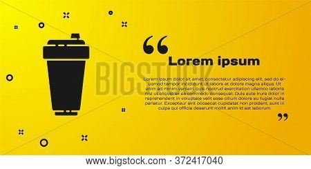 Black Fitness Shaker Icon Isolated On Yellow Background. Sports Shaker Bottle With Lid For Water And